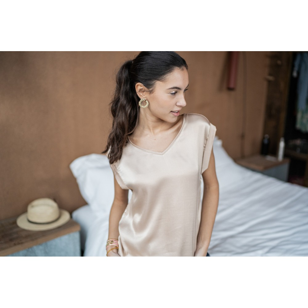 T-SHIRT TITI VISCOSE ROSE1010-733