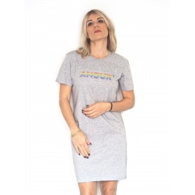 ROBE T-SHIRT AMOUR MULTICOLOR GRIS CHINÉ Raoul & MarcelleRM-ROBE-AMOUR-MULTICO