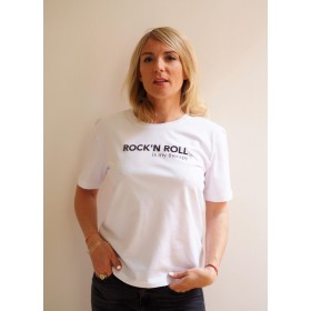 T-SHIRT COUPE « BOXY » ROCK 'N ROLL IS MY THERAPY BLANC / BLACK Raoul & MarcelleRM-RIMT-BOXY-BB
