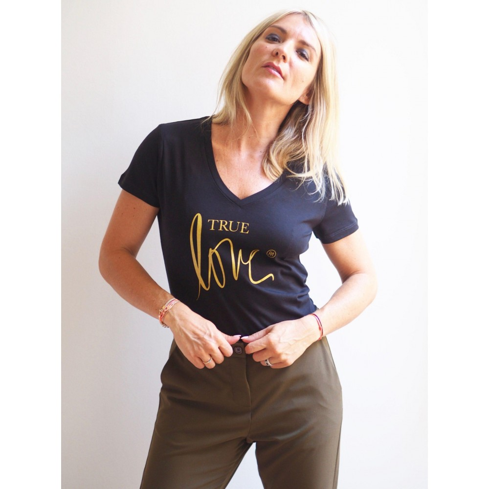 T-SHIRT COL V TRUE LOVE BLACK / GOLD GLITTER Raoul & MarcelleTS-TL-CV-BG