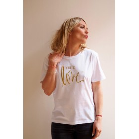 T-SHIRT COUPE « BOXY » TRUE LOVE BLANC / GOLD GLITTER Raoul & MarcelleTS-TL-BOXY-BG
